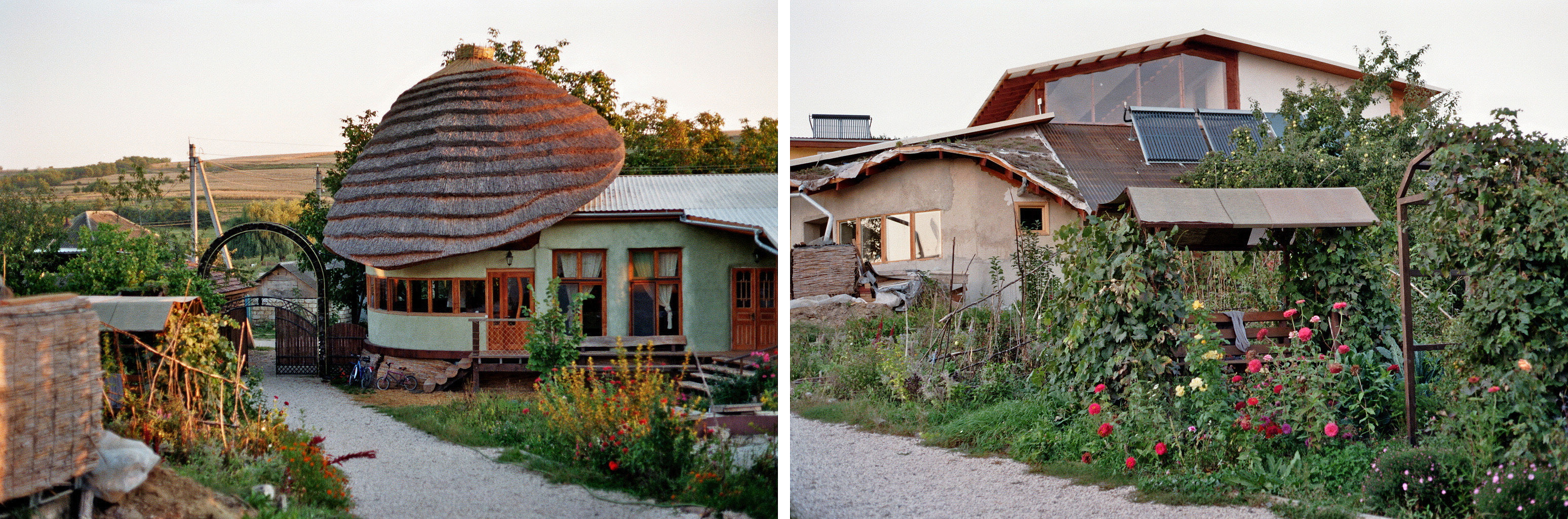 View to the entrance and two out of three buildings in the Eco Village Rîșcova, a seminar centre and living place.